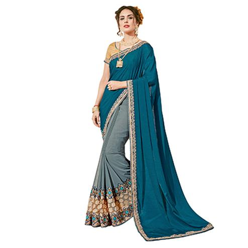 Mesmerising Teal Blue-Gray Colored Partywear Embroidered Georgette Half-Half Saree