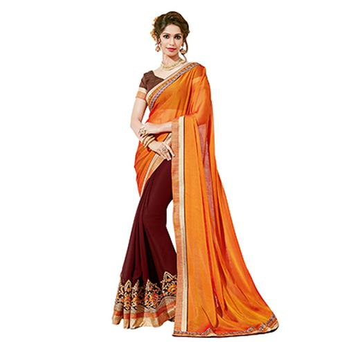 Desiring Yellow-Brown Colored Partywear Embroidered Georgette Half-Half Saree