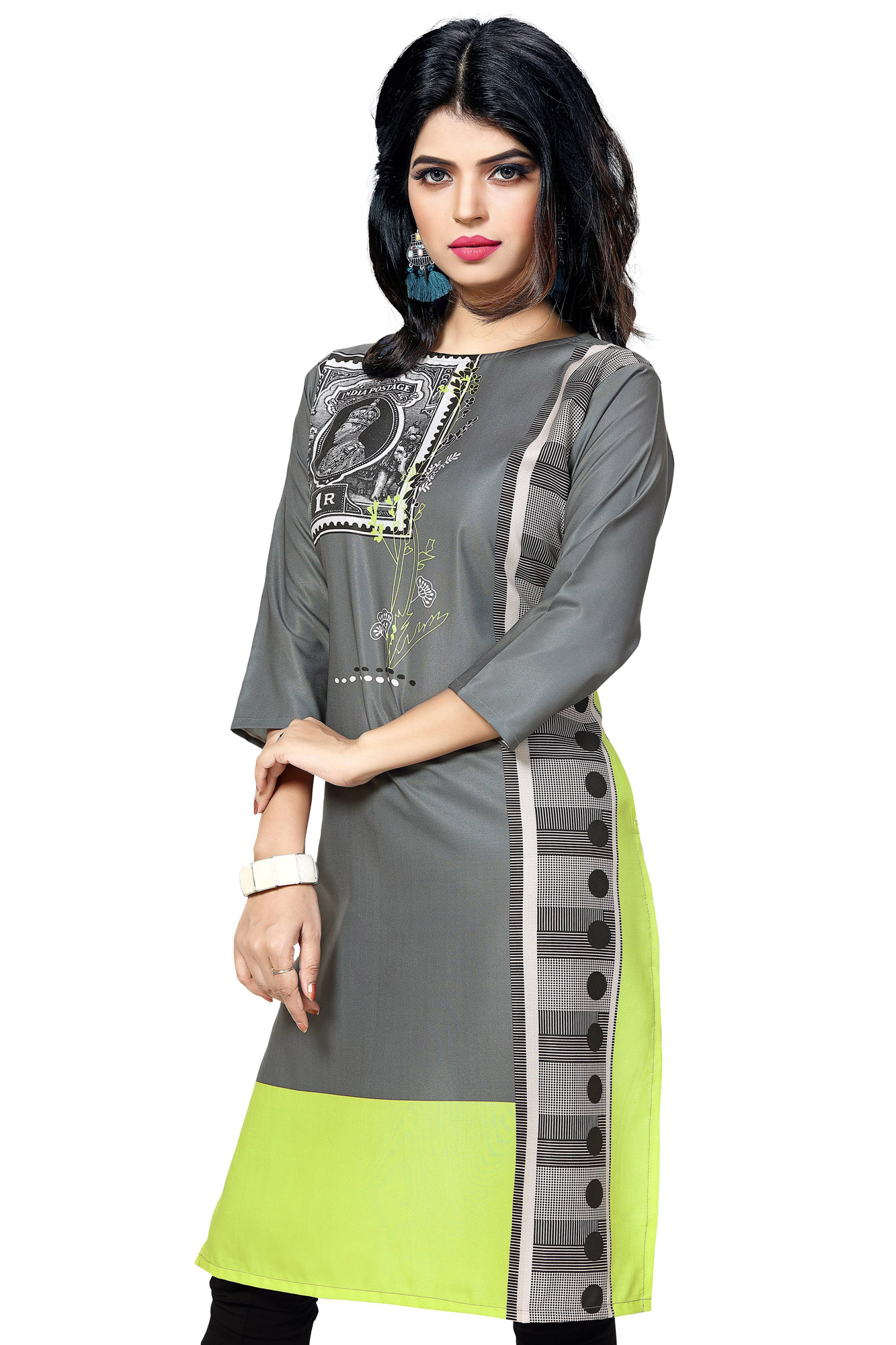 Grey - Black Casual Wear Printed Kurti