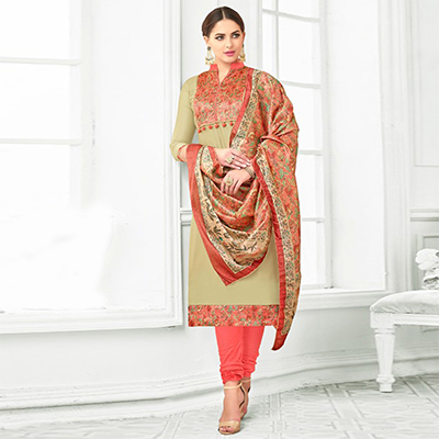 Olive Green Colored Digital Printed Party Wear Satin Cotton Suit