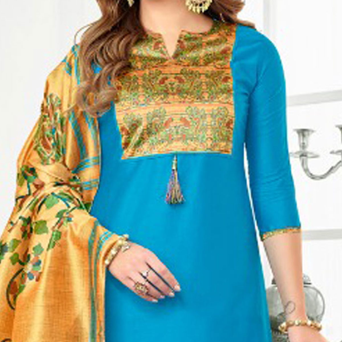 Blue Colored Digital Printed Party Wear Satin Cotton Suit