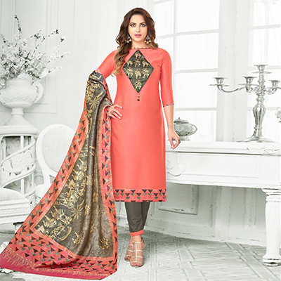 Peach Colored Digital Printed Party Wear Satin Cotton Suit
