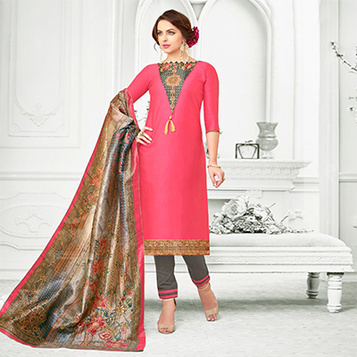 Dark Pink Colored Digital Printed Party Wear Satin Cotton Suit