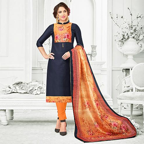 Navy Blue Colored Digital Printed Party Wear Satin Cotton Suit