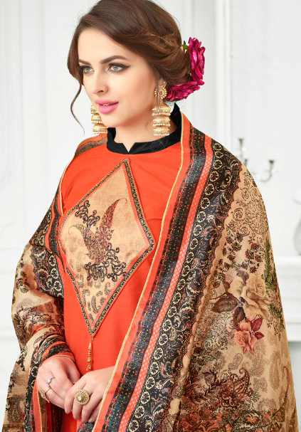 Orange Colored Digital Printed Party Wear Satin Cotton Suit