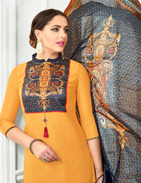Mustard Yellow Colored Digital Printed Party Wear Satin Cotton Suit