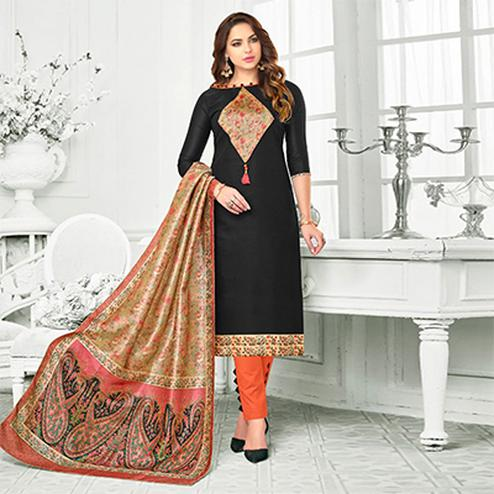 Black Colored Digital Printed Party Wear Satin Cotton Suit
