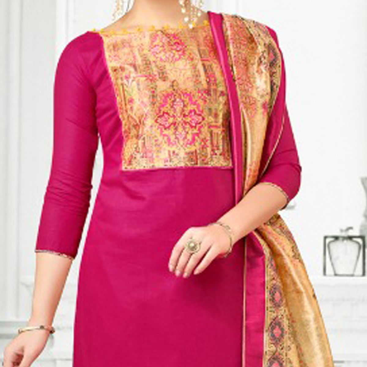 Deep Pink Colored Digital Printed Party Wear Satin Cotton Suit