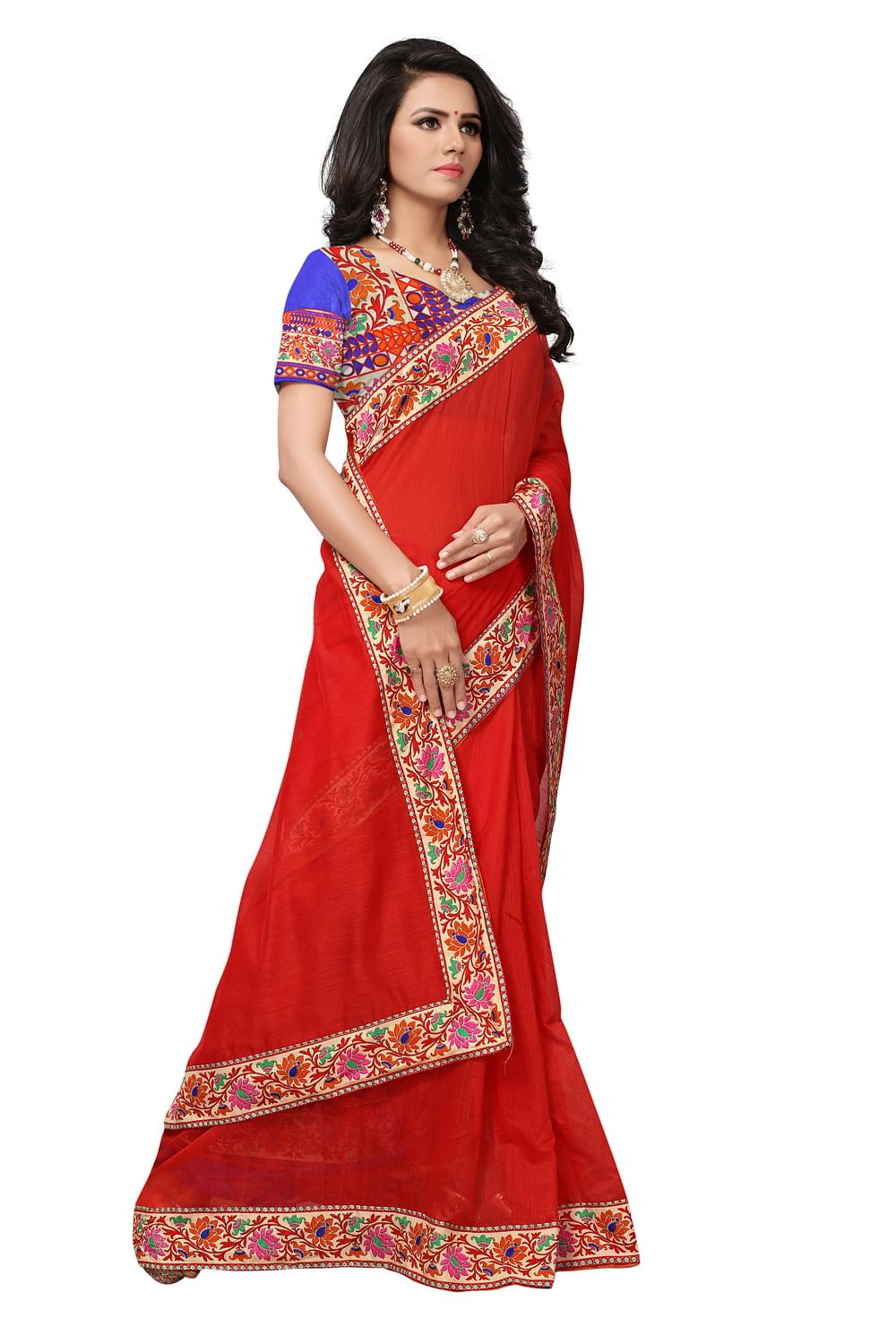 Deep Red Colored Casual Printed Chanderi Saree
