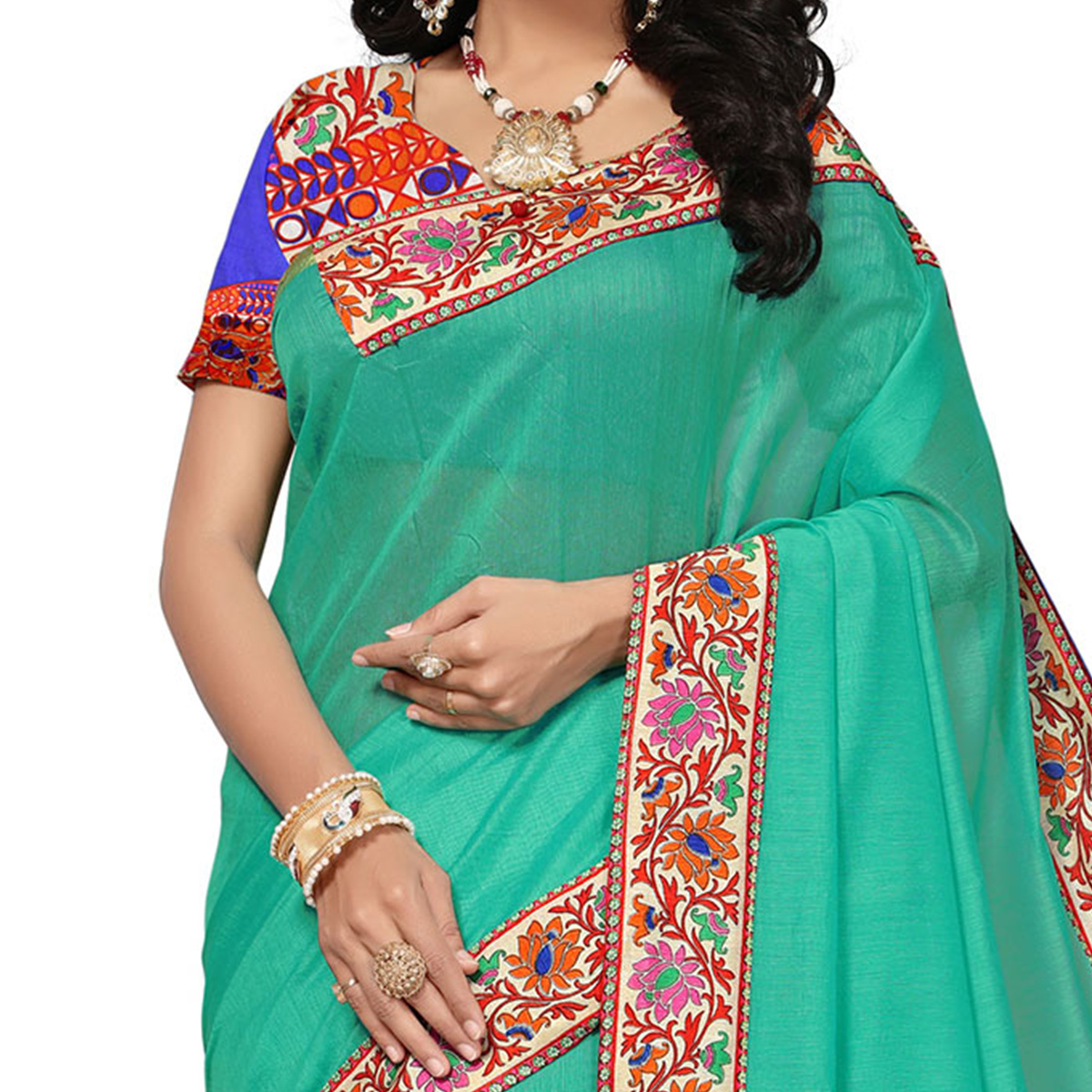 Turquoise Colored Casual Printed Chanderi Saree