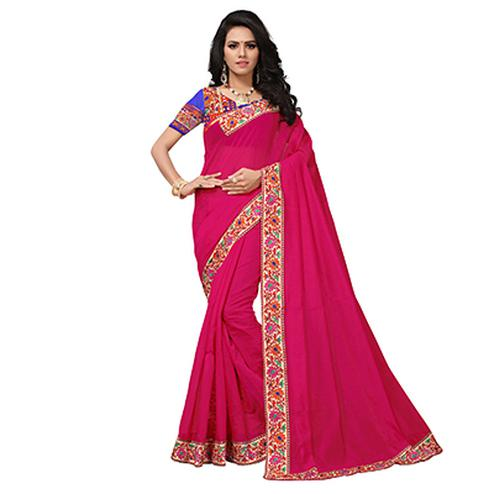Dark Pink Colored Casual Printed Chanderi Saree