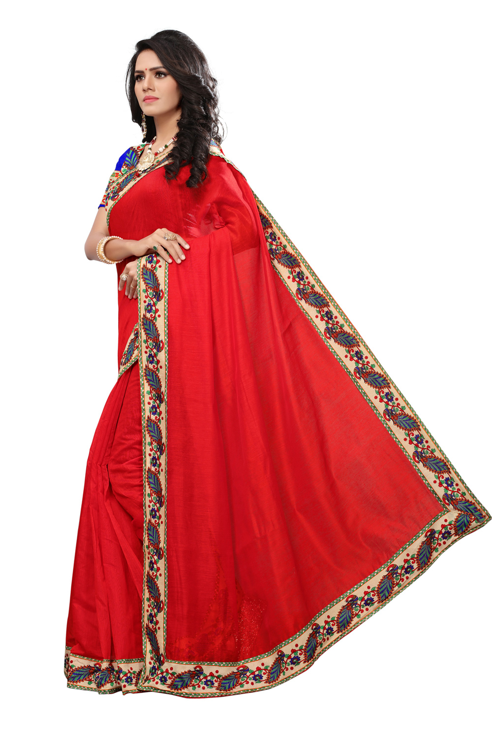 Deep Red Colored Casual Printed Chanderi Silk Saree