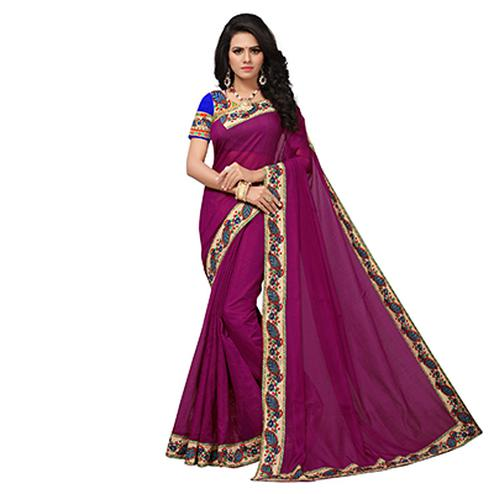 Purple Colored Casual Printed Chanderi Saree