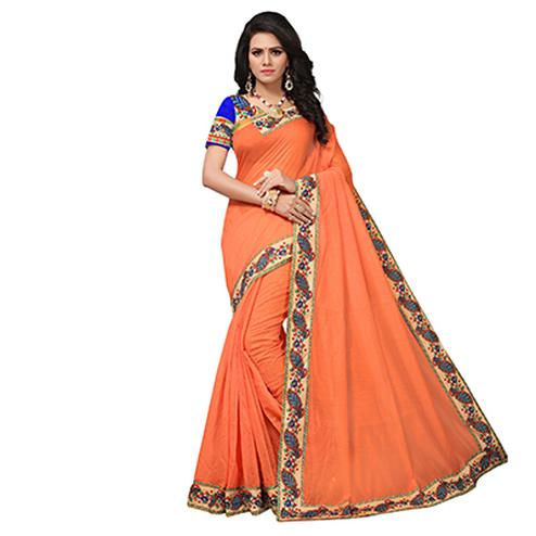 Orange Colored Casual Printed Chanderi Saree