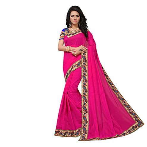 Deep Pink Colored Casual Printed Chanderi Saree