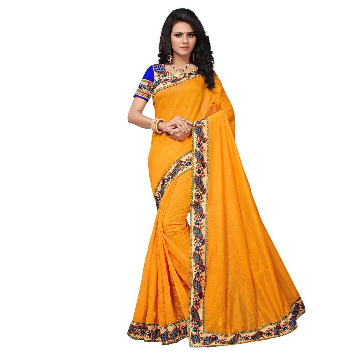 Yellow Colored Casual Printed Chanderi Silk Saree