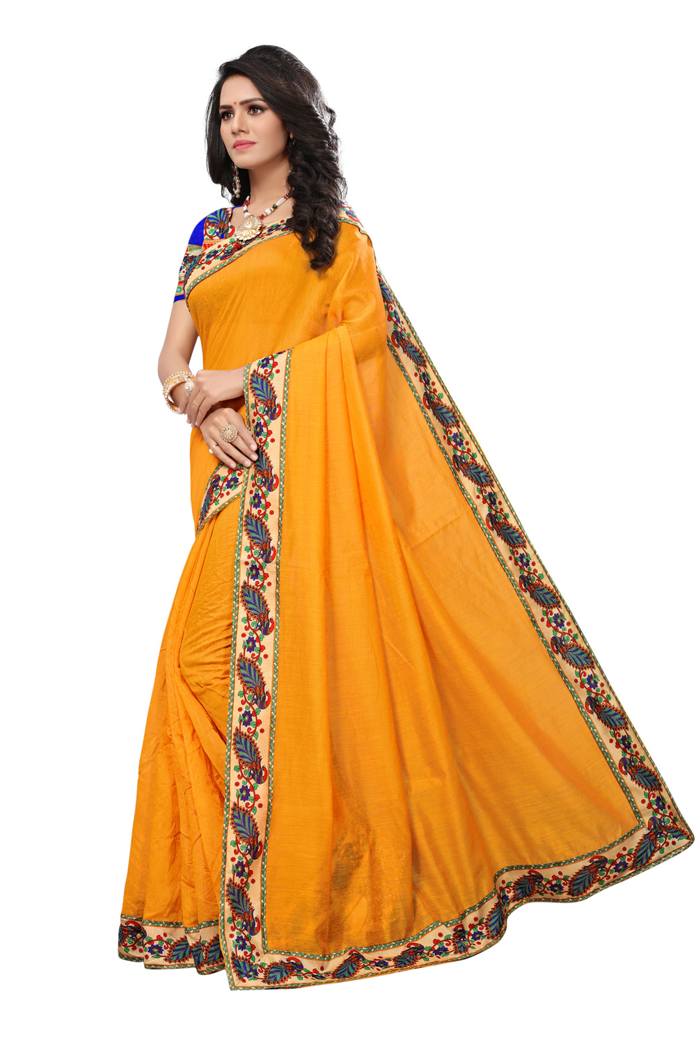 Yellow Colored Casual Printed Chanderi Saree