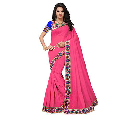 Pink Colored Casual Printed Chanderi Saree