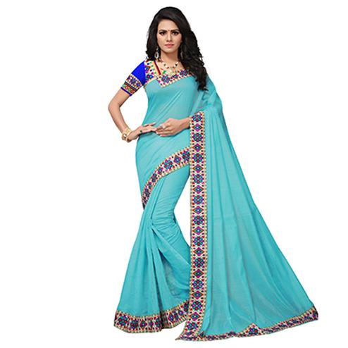 Sky Blue Colored Casual Printed Chanderi Saree