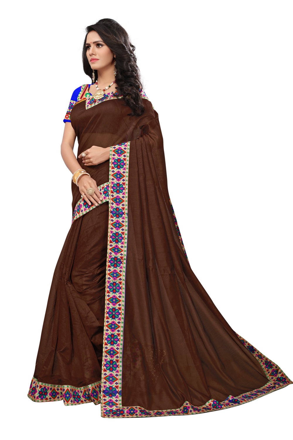 Brown Colored Casual Printed Chanderi Saree