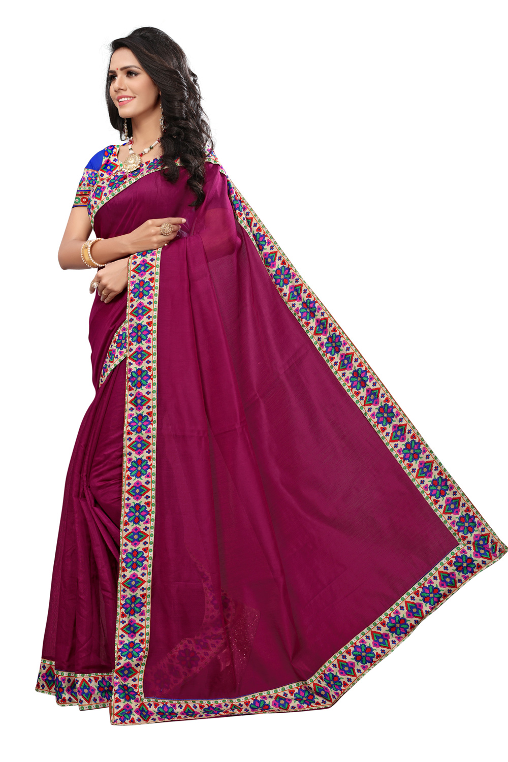 Magenta Pink Colored Casual Printed Chanderi Saree
