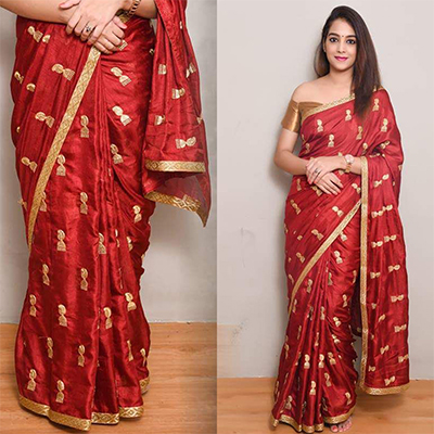 Adorable Red Colored Embroidered Work party Wear Zoya Silk Saree