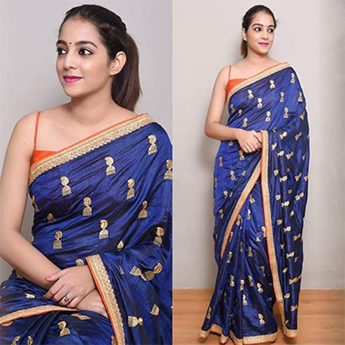 Attractive Navy Blue Colored Embroidered Work party Wear Zoya Silk Saree