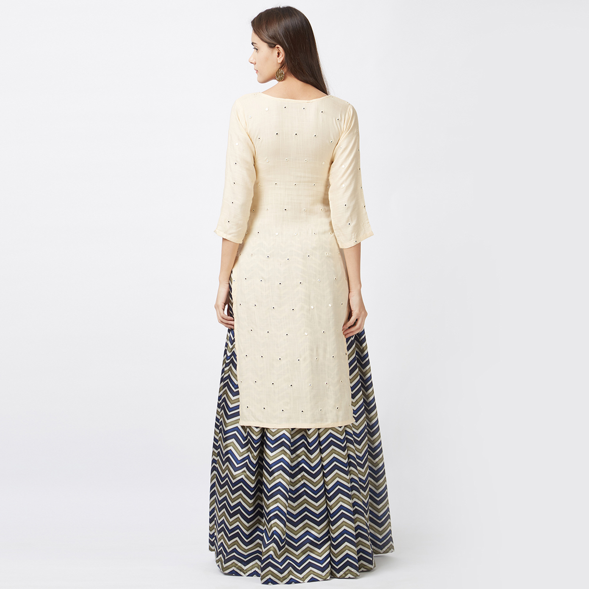 Alluring Cream-Multi Colored Designer Party Wear Tapeta Silk Lehenga Kameez