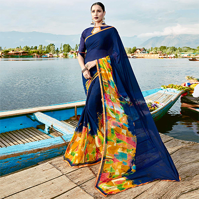 Glowing Navy Blue Colored Casual Wear Printed Georgette Saree