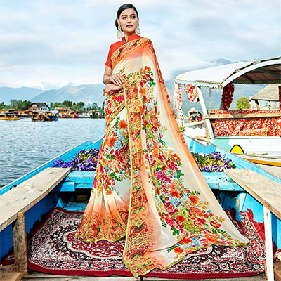 Beautiful Multi Colored Casual Wear Printed Georgette Saree