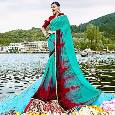 Demanding Turquoise Green Colored Casual Wear Printed Georgette Saree