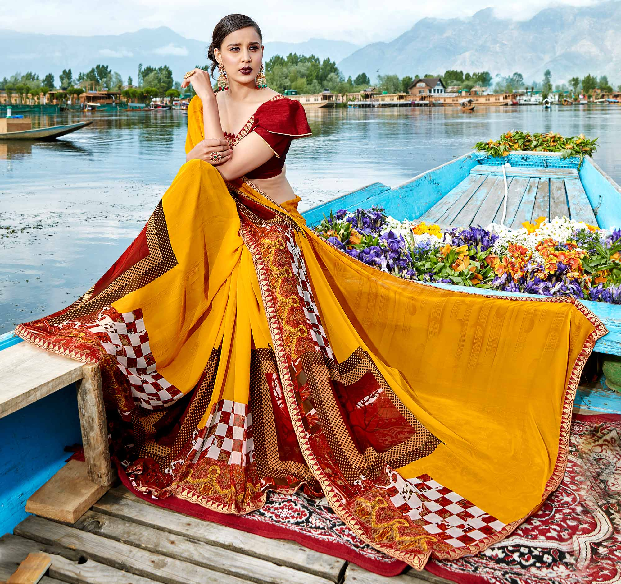 Traditional Yellow Colored Casual Wear Printed Georgette Saree
