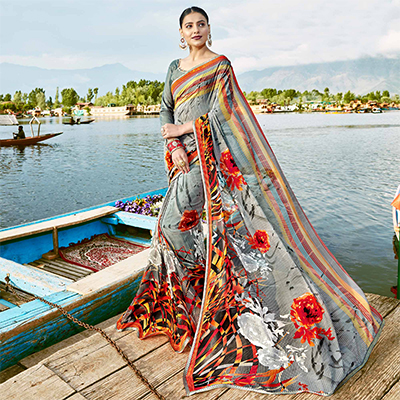Eye-Catching Gray Colored Casual Wear Printed Georgette Saree