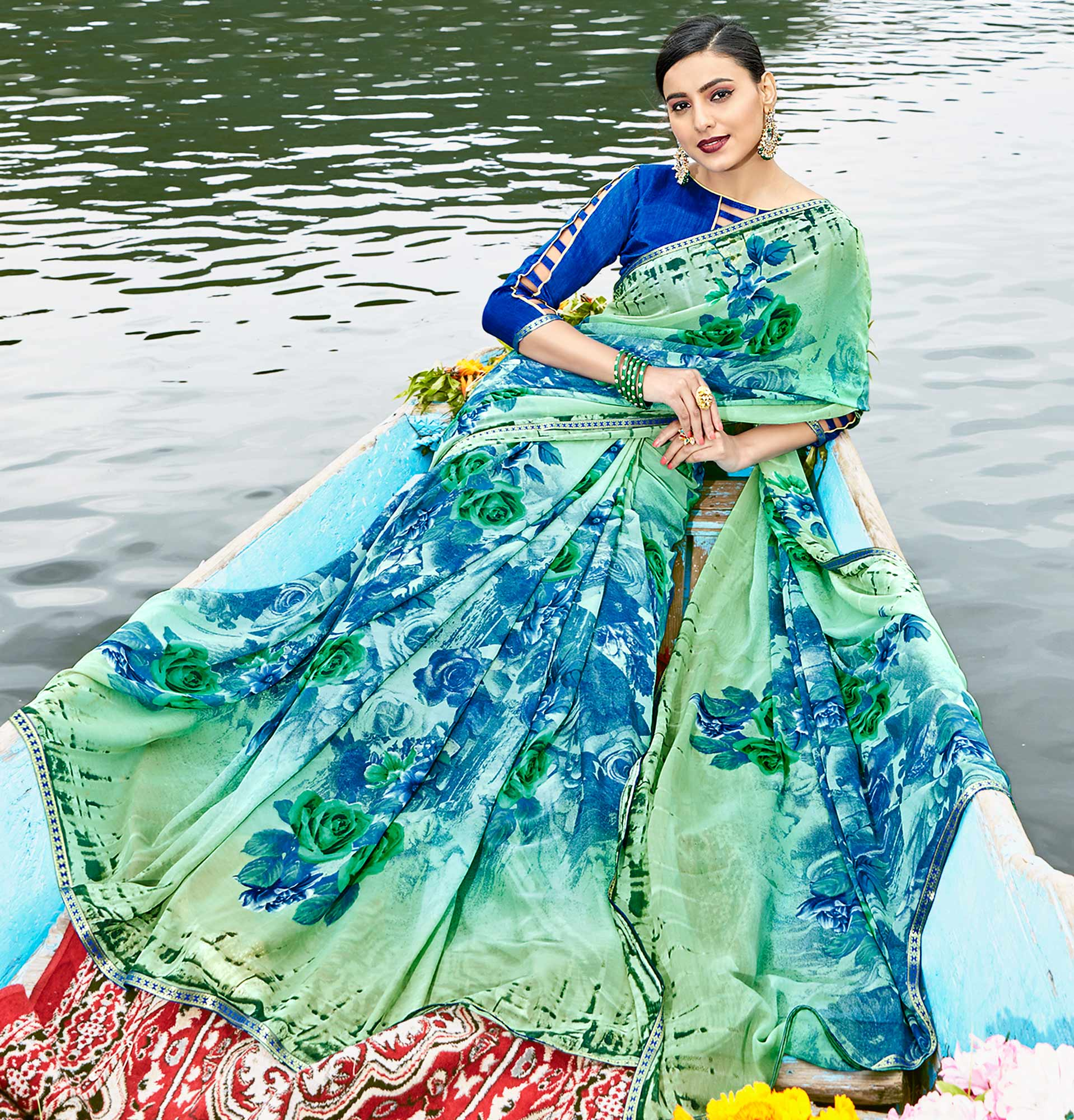 Mesmerising Green Colored Casual Wear Printed Georgette Saree