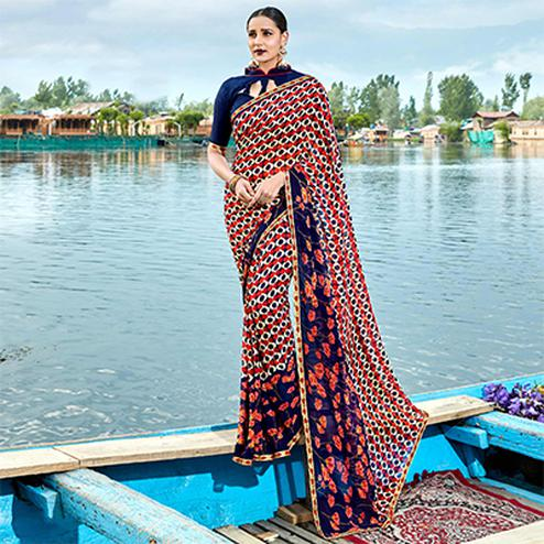 Desiring Navy Blue-Multi Colored Casual Wear Printed Georgette Saree