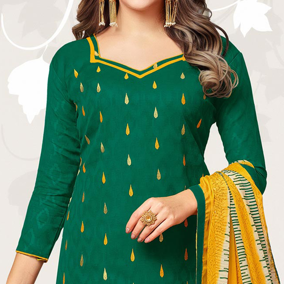 Stunning Green Colored Casual Embroidered Jacquard Suit