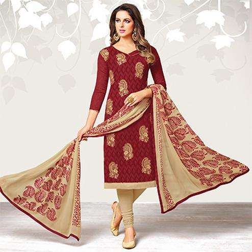 Mesmerising Maroon Colored Casual Embroidered Jacquard Suit