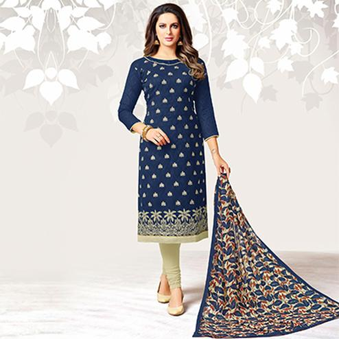 Refreshing Navy Blue Colored Casual Embroidered Jacquard Suit