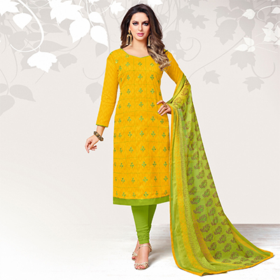 Radiant Yellow Colored Casual Embroidered Jacquard Suit