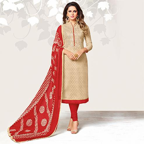 Alluring Beige Colored Casual Embroidered Jacquard Suit