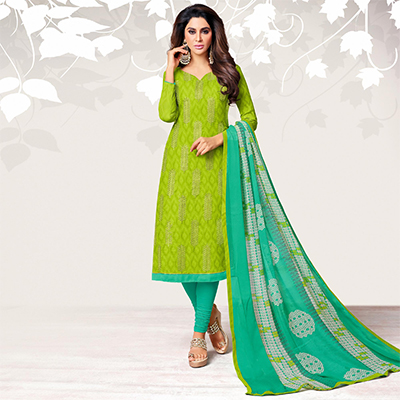 Impressive Light Green Colored Casual Embroidered Jacquard Suit