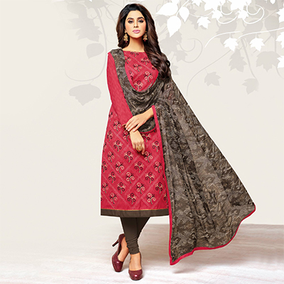 Amazing Crimson Red Colored Casual Embroidered Jacquard Suit
