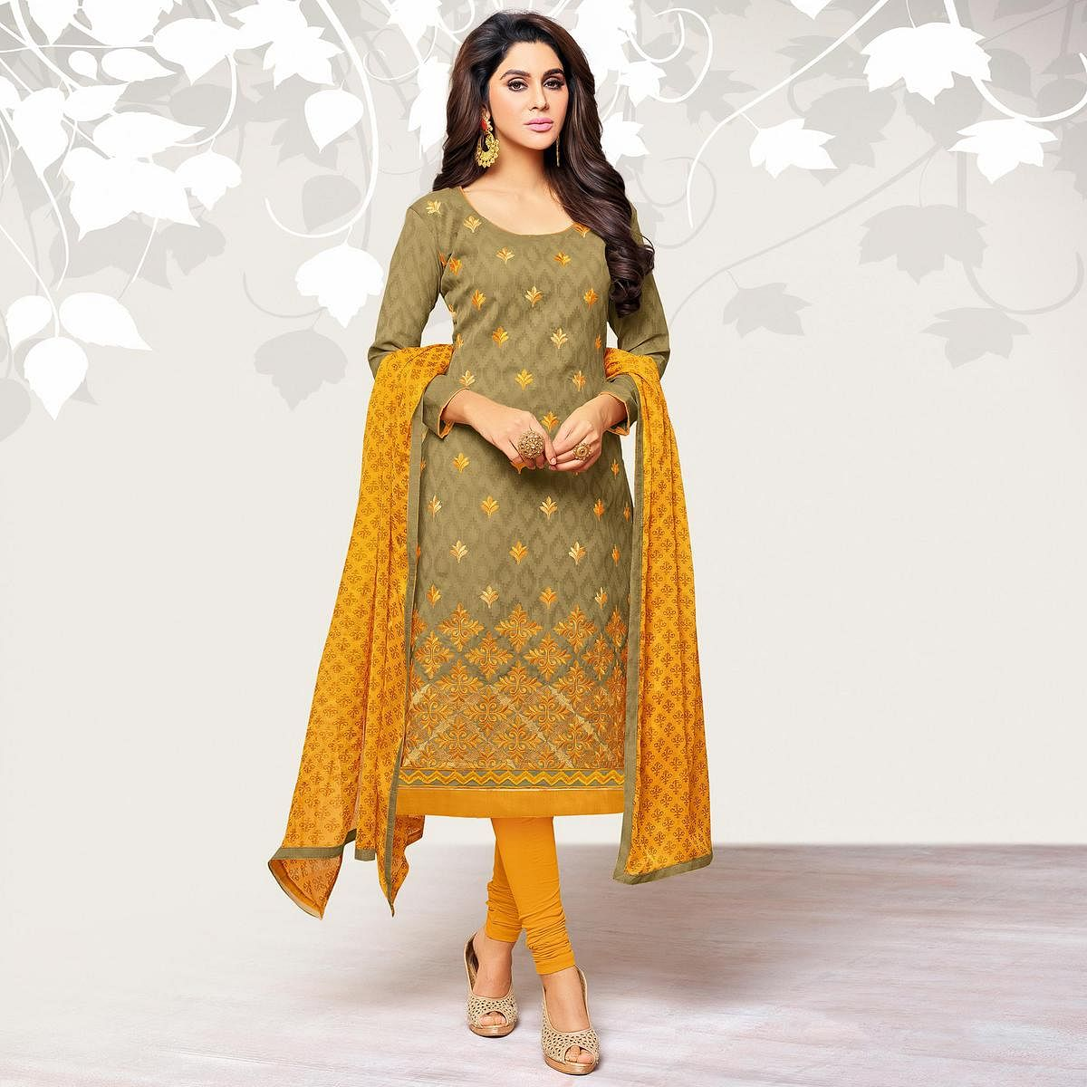 Opulent Light Olive Green Colored Casual Embroidered Jacquard Suit