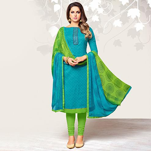 Charming Sky Blue Colored Casual Embroidered Jacquard Suit