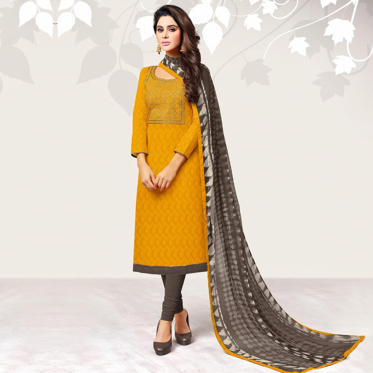 Amazing Yellow Colored Casual Embroidered Jacquard Suit