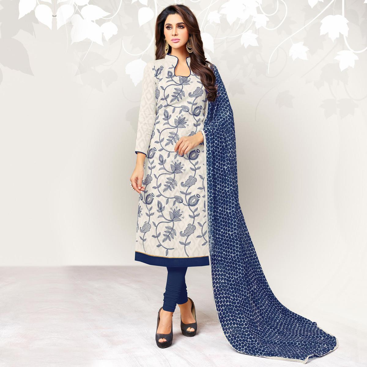 Lovely White Colored Casual Embroidered Jacquard Suit