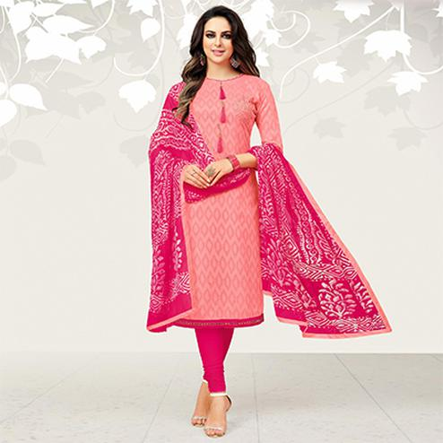Glorious Peach Colored Casual Embroidered Jacquard Suit
