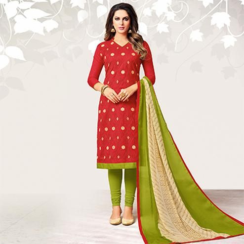 Intricate Red Colored Casual Embroidered Jacquard Suit