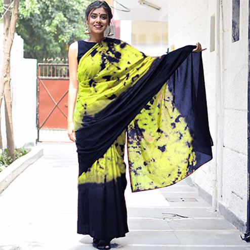 Attractive Yellow-Navy Blue Colored Casual Wear Printed Cotton Saree