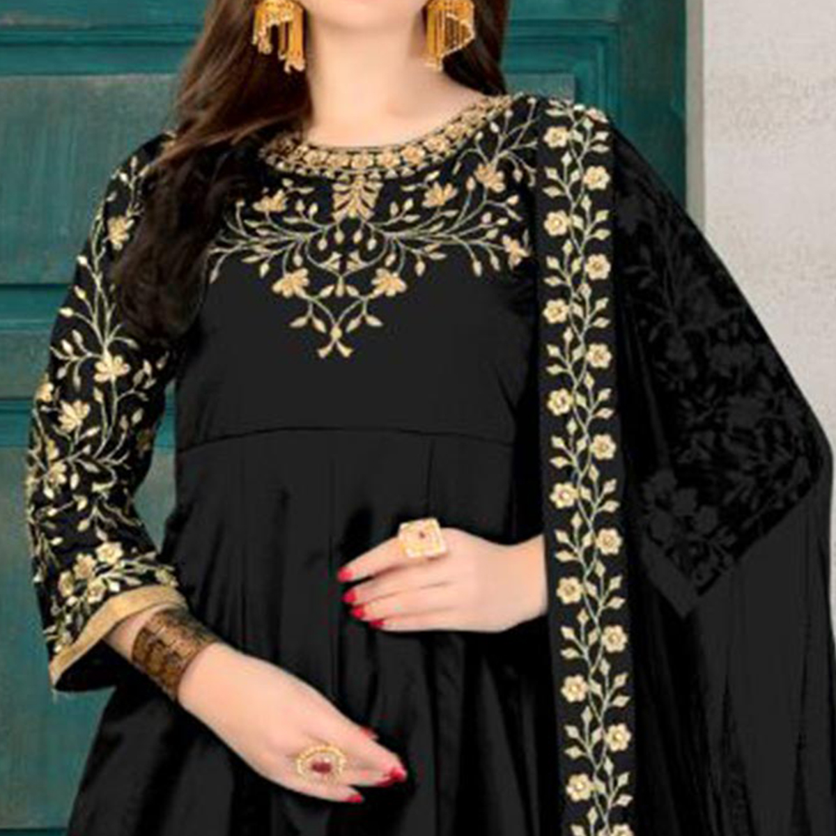 Demanding Black Colored Partywear Embroidered Tapeta Silk Anarkali Suit